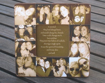 best friends collage frame personalized sister gift unique maid of honor picture frame custom photo collage bridesmaid frame 8 x 8