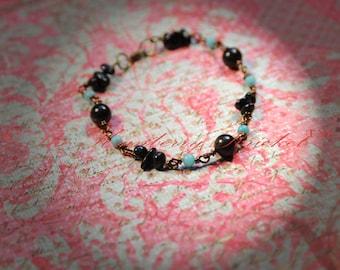 Reiki Jewelry Bracelet Black Tourmaline,Goldsheen Obsidian and Amazonite Gemstone Bracelet, Protection Bracelet