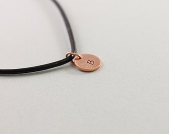 Mens necklace: personalized men's jewelry, copper initial necklace for man, black leather
