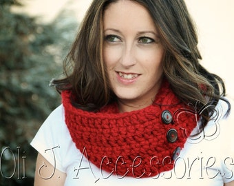 Infinity Option Scarf w/ Buttons - Red - Made to Order