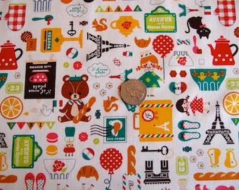 SALE Cosmo Kawaii Critters Paris in Cream Cotton Oxford Fabric (Half Yard) SALE, SALE