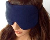 CLOSEOUT SALE Raw Silk Eye Mask Sleep Mask Navy Blue, Fully Adjustable Strap, Light Blocking, Anti-Wrinkle/Aging, Stimulates Circulation