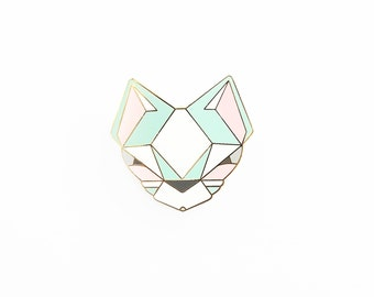 Cat Brooch - Pastel Geometric Metal Pin