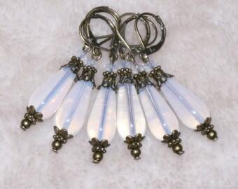 Vintage Victorian Style Long Glass Dangle Earrings- White Opal