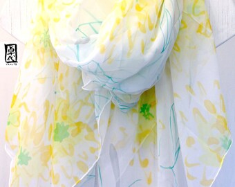 Hand painted Silk Shawl Scarf, Spring Citrus Yellow Chrysanthemums, Light Gray, Yellow Floral Scarf, Silk Chiffon Wrap Shawl. 43x72 inches.