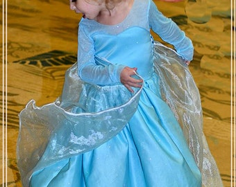 Frozen Queen Elsa Dress Inspired Aqua Satin Dress Costume Made to Order