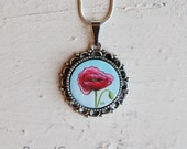 Red Poppy Necklace, Poppy Jewelry, Hand Painted, Red Poppy, Flower, Necklace, Pendant, Jewelry, Michelle Meyer