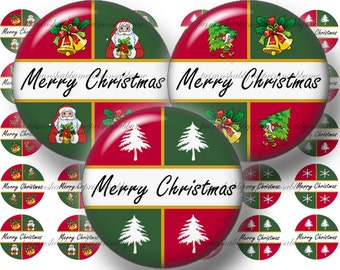 Merry Christmas, Bottle Cap Images, Digital Collage Sheet, 1 Inch Circle, Instant Download, Printable Christmas (CB1)