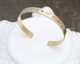 Coordinate Bracelet - Location Jewelry - Gold Bracelet -  Latitude Longitude - Going Away Gift - Graduation Gift - Bridesmaid Gift