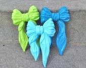 Lime Aqua and Peacock Blue Wall Bows Ribbons