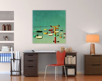 oversized canvas art // large wall art // mid century modern canvas - Summer of 67, ready-to-hang canvas art