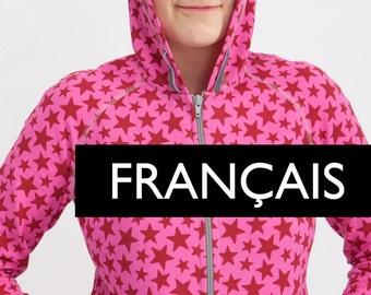 E-PATTERN - FRANÇAIS : Gilet à capuche pour femme - Tailles européennes 34-52
