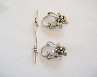 Flower Toggle Clasps, 100% lead free Pewter
