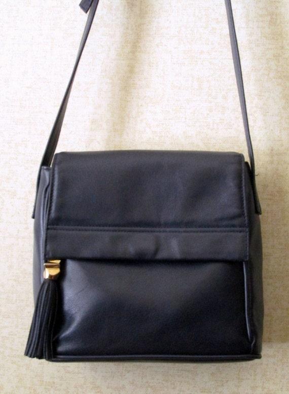 Navy Blue Leather Crossbody Bag 14