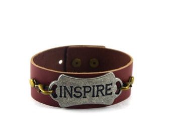 Leather Cuff Bracelet, Inspire Bracelet, Available in Custom Colors, Quote Bracelet, Leather Cuff, Leather Cuff Bracelet, Inspire Quote