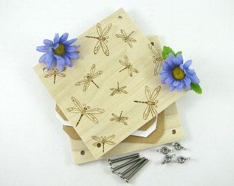 Flower Press - Wood Pyrography - Dragonfly Design Plant Press