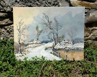 Vintage Texas in Winter Landscape Painting  1972 Dumas, Texas