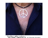 Peace and Love Pendant - Necklace - Silver plated with leather lace