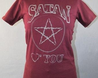 Woman's Satan T-Shirt, Funny Shirt, Satan Hearts You, S,M,L,XL, Pentagram