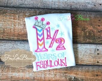 One and half Birthday - 1st birthday - Princess Birthday - Birthday Princess - Birthday Girl
