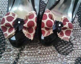 Burlap shoe clips, Wedding bows, Wedding shoe clips, red bows, burlap bows, polka dot shoe clips, Wedding shoes