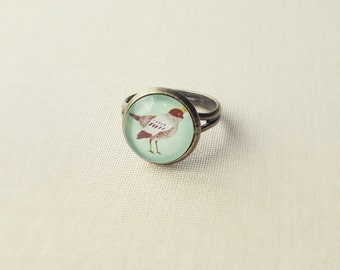 Mint Green Sparrow Ring. Bird Ring. Adjustable Glass Ring.