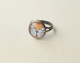 Butterfly Ring. Mustard Yellow Ring. Adjustable Glass Ring.