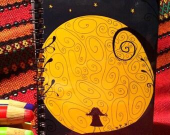 Supermoon Illustration Notebook , Moon, Little Girl