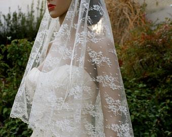 "Floral Buttercream Lace ""Georgia"" Bridal Cap Veil, Custom Bridal Cap Veils by LasVegasVeils"
