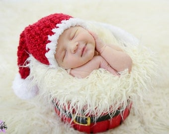 Christmas Newborn Stocking Hat Santa Hat Red White Pom Pom Fleecy Trim Photo Prop Baby Boy Girl  Sizes 0-3 Months 3-6 Months 6-12 Months