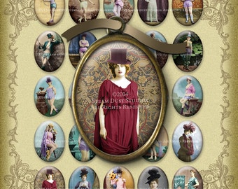 Victorian Steampunk Women Digital Collage Sheets - Hand-Tinted - 30x40mm Ovals - Suffragettes - Printables - Altered Art - Digital Downloads