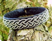 FREKE Swedish Sami Bracelet. Nordic Viking Jewelry in Black Reindeer Leather with Braided Spun Pewter and Antler Button - Custom Made