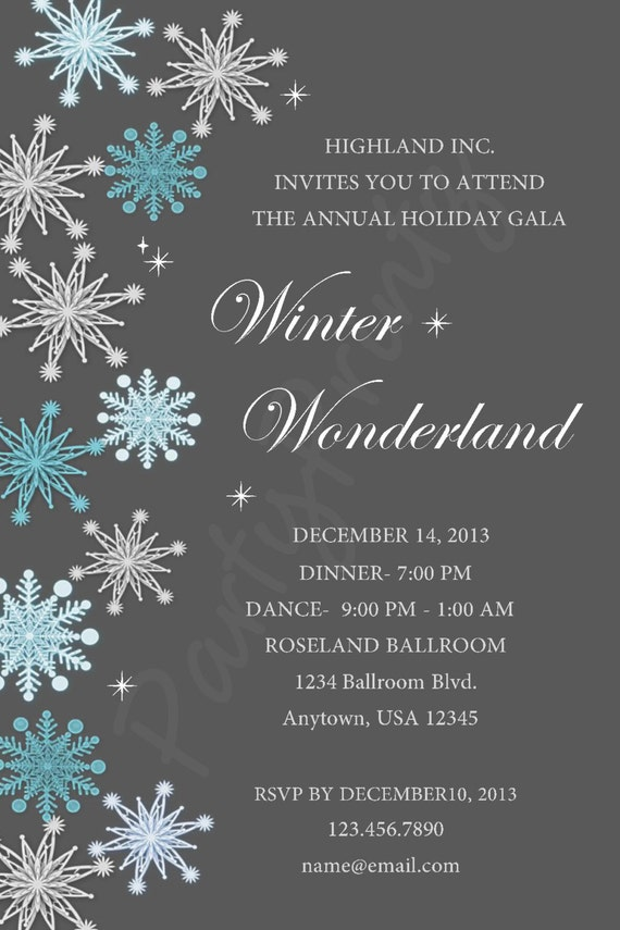 Printable Winter Wonderland Christmas Party Personalized