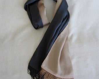 Armani Charcoal Grey and Peach Neck Scarf in Heavy Silk Satin with Fringe