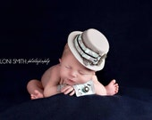 Gray and Aqua Blue Foxes Mini Top hat/Fedora newborn Baby photo prop