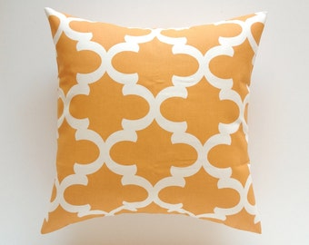 CLEARANCE 70% OFF Orange Moroccan Throw Pillow Cover. 20X20 Inch Orange and Ivory Couch Pillow Cushion Covers