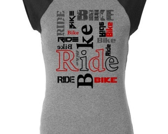 Women's Bicycle T-shirt-BIKE RIDE-Road Bike, Mountain Bike Tee