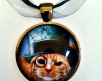 Steampunk Kitty Cat Pendant Necklace On a Matching Silvery Gray Organza Ribbon