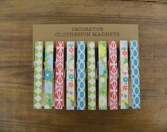 Clothespin Magnets, Set of Ten (10), Magnet Clips, Standard Decorative Magnet Clothespins, Vintage Retro Theme