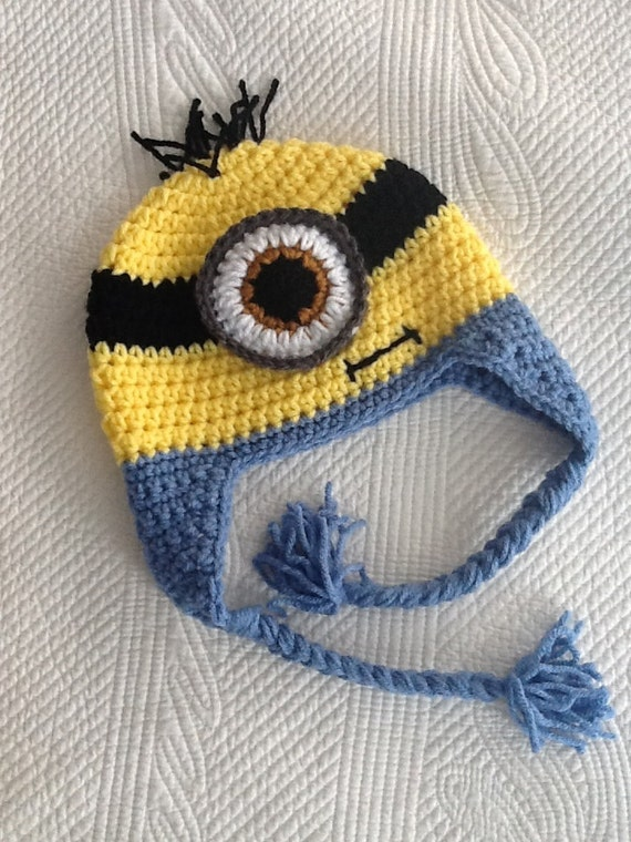 Minion Hat, Child Animal Hat, Minion Hat, Crochet Baby Hat, Winter Hat, Baby Hat, Newborn Hat, Child Hat