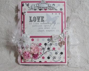 OOAK My Bestie Sherri Baldy Shadow Book Box Card - Pink, Black, White