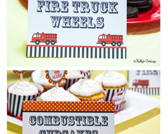 Fire Truck Birthday Party Labels, Instant Download, Printable,  Food Tags, Place Cards, Party Signs