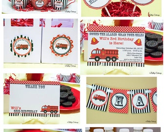 Fire Truck Birthday Party Mini Package...Custom, Printable DIY Package