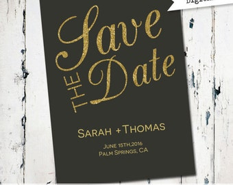 Black and Gold Save the Date, Modern Save the Date, printable save the date, gold,and black, digital file (JPDF59)