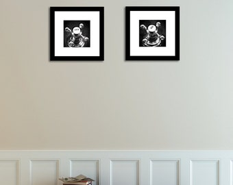Set Of 2 Black And White Vintage Antique Hot And Cold Knobs Art Print  Photography Bathroom