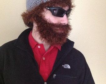 Handmade Crochet Hair and Beard Hat beard beanie, gray hat with  with dark brown hair and beard, beard hat, men beard hat