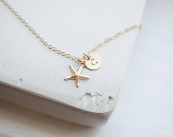 Starfish Charm Initial Necklace | Starfish Necklace Charm | Starfish Initial Necklace | Gold Starfish Charm Necklace | Gold Charm Starfish |