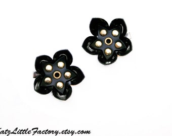 Pair Small Cyber Flower Hair Clips - Shiny and Matt Black PVC Gold Studded Gothic Industrial Mechanical Flowers