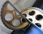 Metallic Gold Pair of Gear Bookends