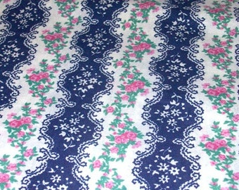 "Vintage Fabric - Blue & White Ticking - Pink Roses - By the Yard x 44""W - Retro - Sewing Material - Craft Supply - Yardage"